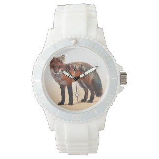 Montre Double exposition de Fox - art de renard - renard