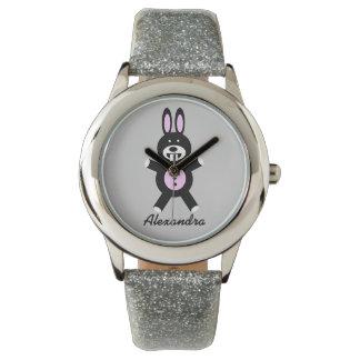 Montre du scintillement de l'enfant noir de lapin montres cadran