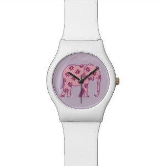 Montre Élégant élégant de silhouette rose florale