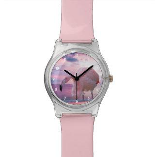 Montre Flamant et ciel rose