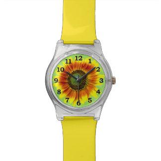 Montre Fleur jaune de tournesol et verte florale