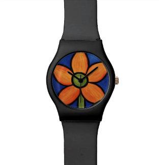 Montre Fleur orange lunatique