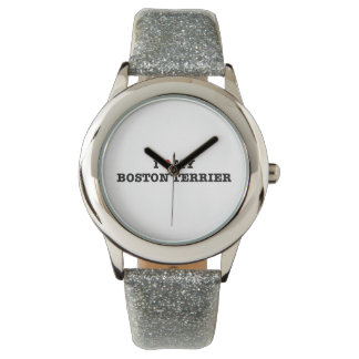 Montre I coeur ma montre-bracelet de Boston Terrier