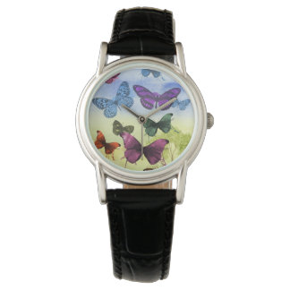 Montre Illustration colorée de papillons d'aquarelle