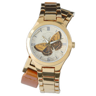 Montre Illustration vintage, or et Brown de papillon