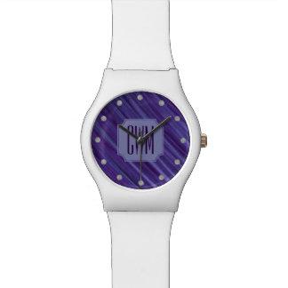 Montre Lilas violet pourpre de monogramme indifférent de