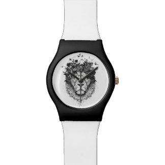 Montre Lion floral (noir et blanc)