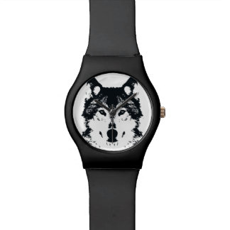 Montre Loup noir d'illustration