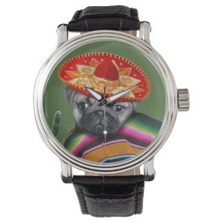 Montre mexicaine de bracelet en cuir de chien de