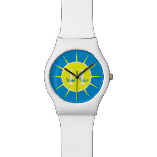Montre Monogramme de jaune de soleil et de bleu d'été