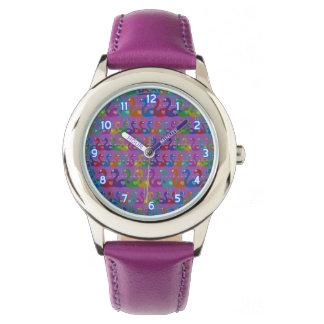 Montre Montre-bracelet multicolore de flamant avec des