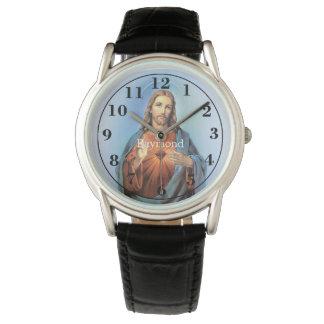 Montre Montre/Jésus noirs personnalisés de bracelet en