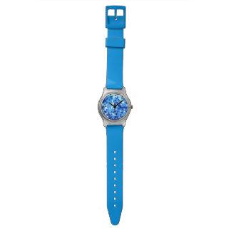 Montre Mosaïque moderne en verre souillé de bleu et de