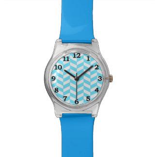 Montre Motif bleu lumineux blanc en arête de poisson de