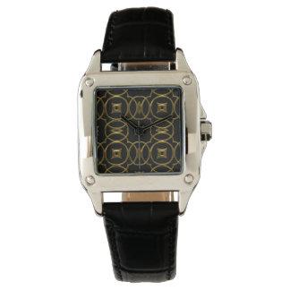 Montre Motif géométrique brillant d'or noir élégant