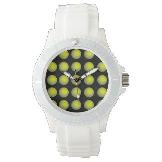 Montre Motif jaune et noir de balle de tennis,