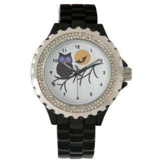Montre noire de Halloween de hibou Montres Bracelet