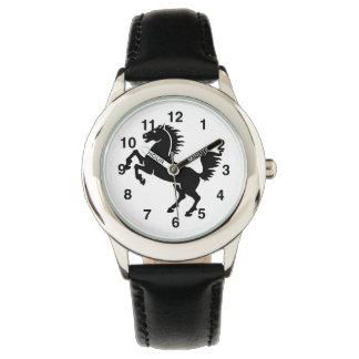 Montre noire d'enfants d'étalon montres