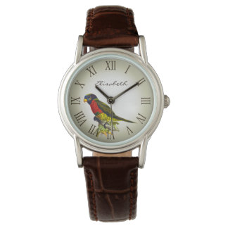 Montre Nom vintage coloré d'illustration de perroquet