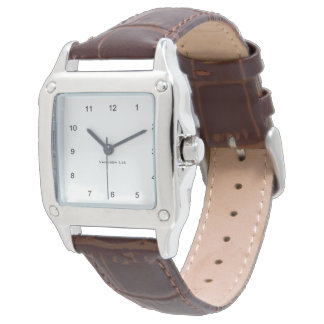 Montre Nommez votre bracelet en cuir carré de Brown