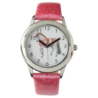 Montre personnalisable de filles de cheval rose de montres