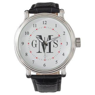 Montre personnalisée chique du monogramme des montres cadran