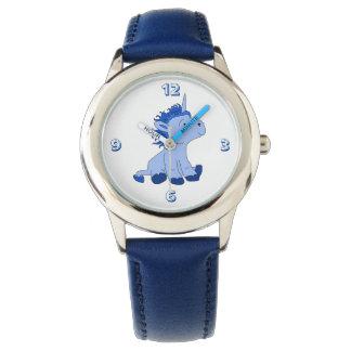 Montre Petite licorne bleue mignonne