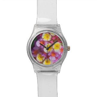 Montre Petites fleurs tropicales roses et pourpres jaunes