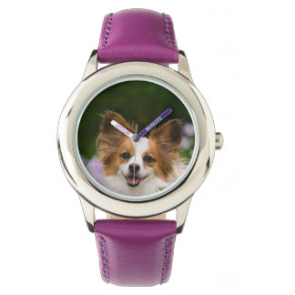 Montre Portrait romantique mignon de chien de Papillon -