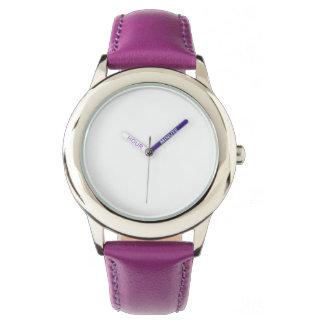 Montre pourpre de bracelet en cuir d'acier montres cadran