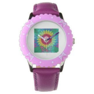 Montre pourpre d'enfants de fleur de papillon montres