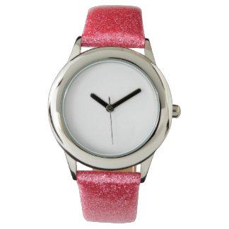 Montre rose de courroie du scintillement de montres