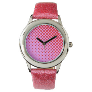 Montre Rose ou scintillement rouge