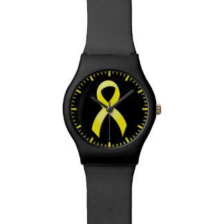 Montre Ruban jaune de cancer du testicule