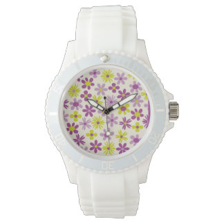 Montre Summer Violet and Green Flowers
