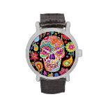 Montre super de crâne de sucre - jour de l'art montres bracelet