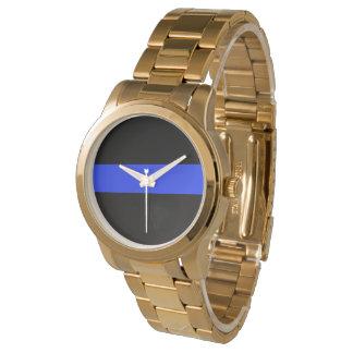Montre surdimensionnée de bracelet d'or de Blue