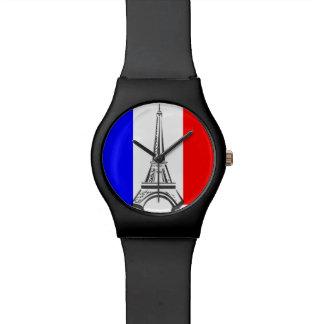 Montre Tour française Eiffel de drapeau