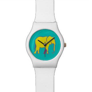 Montre Turquoise vibrante au néon jaune de silhouette