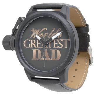 Montre Typographie noire élégante d'or du plus grand papa