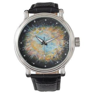 Montre vintage de bracelet en cuir de galaxie