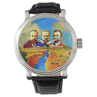 Montre vintage noire arménienne de main du cuir
