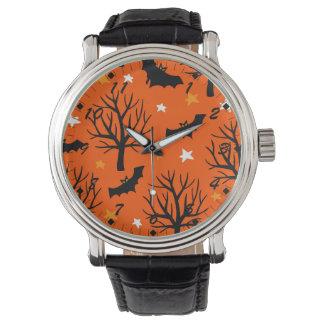 Montres Bracelet Arbre éffrayant de Halloween avec des battes et