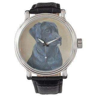 Montres Bracelet art noir de réaliste de portrait de chien de