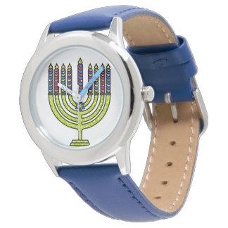 Montres Bracelet Bougies de Hanoukka Menorah