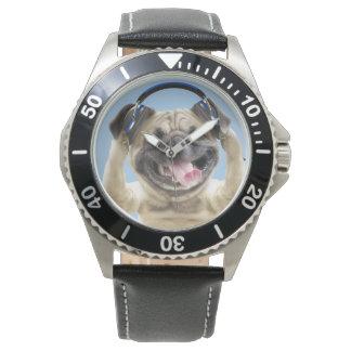 Montres Bracelet Carlin avec des écouteurs, carlin, animal familier
