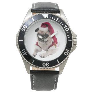 Montres Bracelet Carlin de Noël - chien du père noël - poursuivez