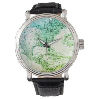 Montres Bracelet Carte vintage verte fraîche de l'Amérique du Nord