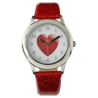 Montres Bracelet Coeur brillant rouge
