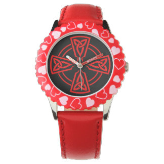 Montres Bracelet Coeurs réglables de rouge d'acier inoxydable de